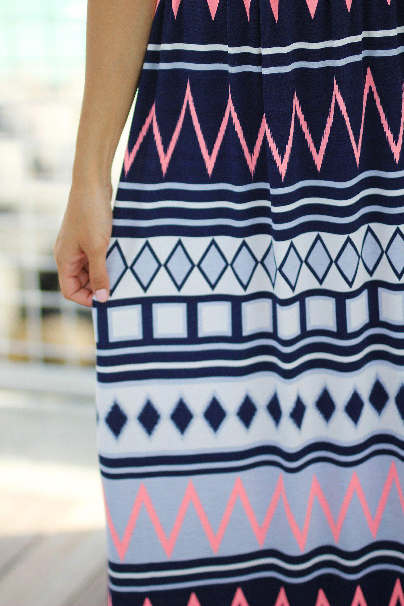Neon Pink Chevron Maxi Dress