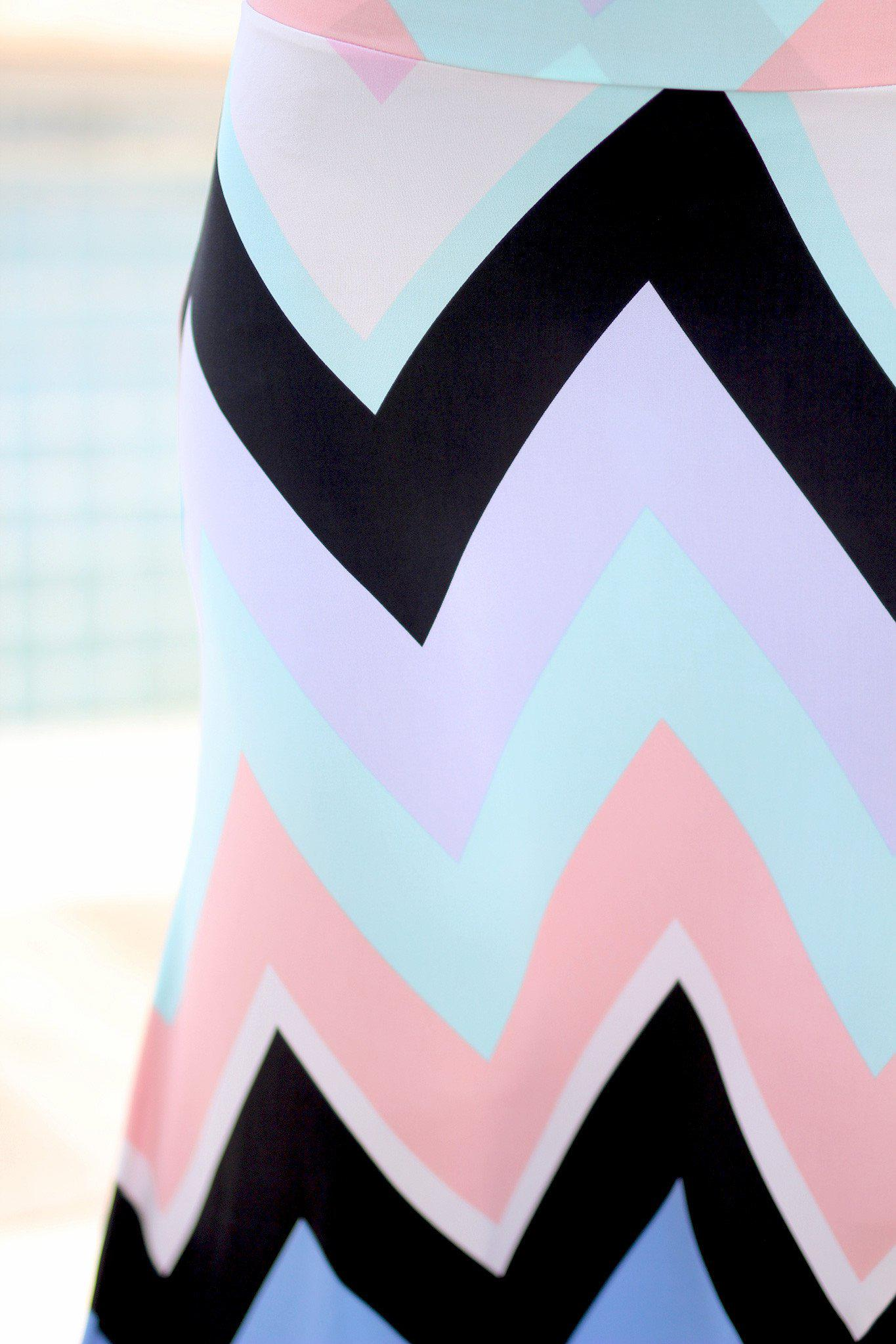 Mint and Peach Chevron Maxi Skirt