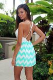 Mint Chevron Romper