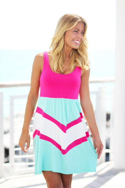 pink and mint chevron dress saved by the dress