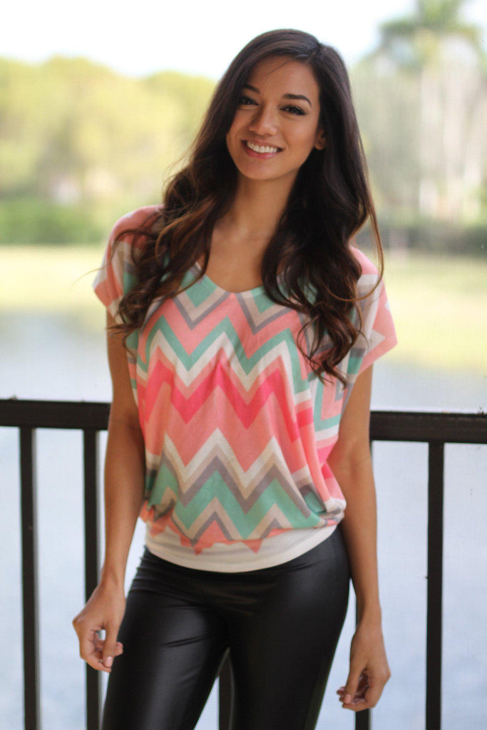 coral and mint top