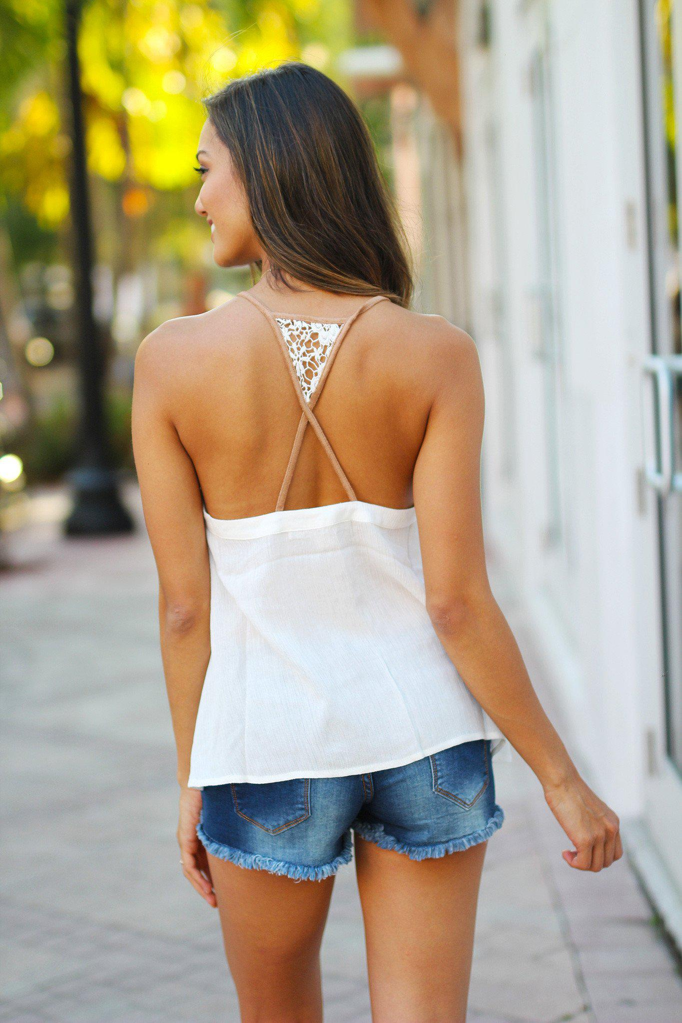 Off White Tank Top with Cut Out Back