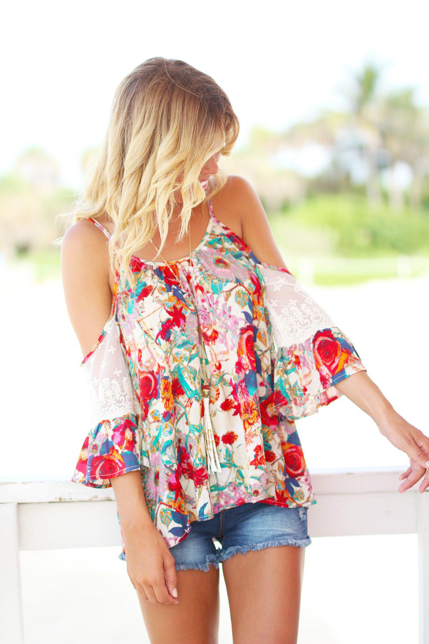 Floral Top with Lace Cold Shoulder Sleeves
