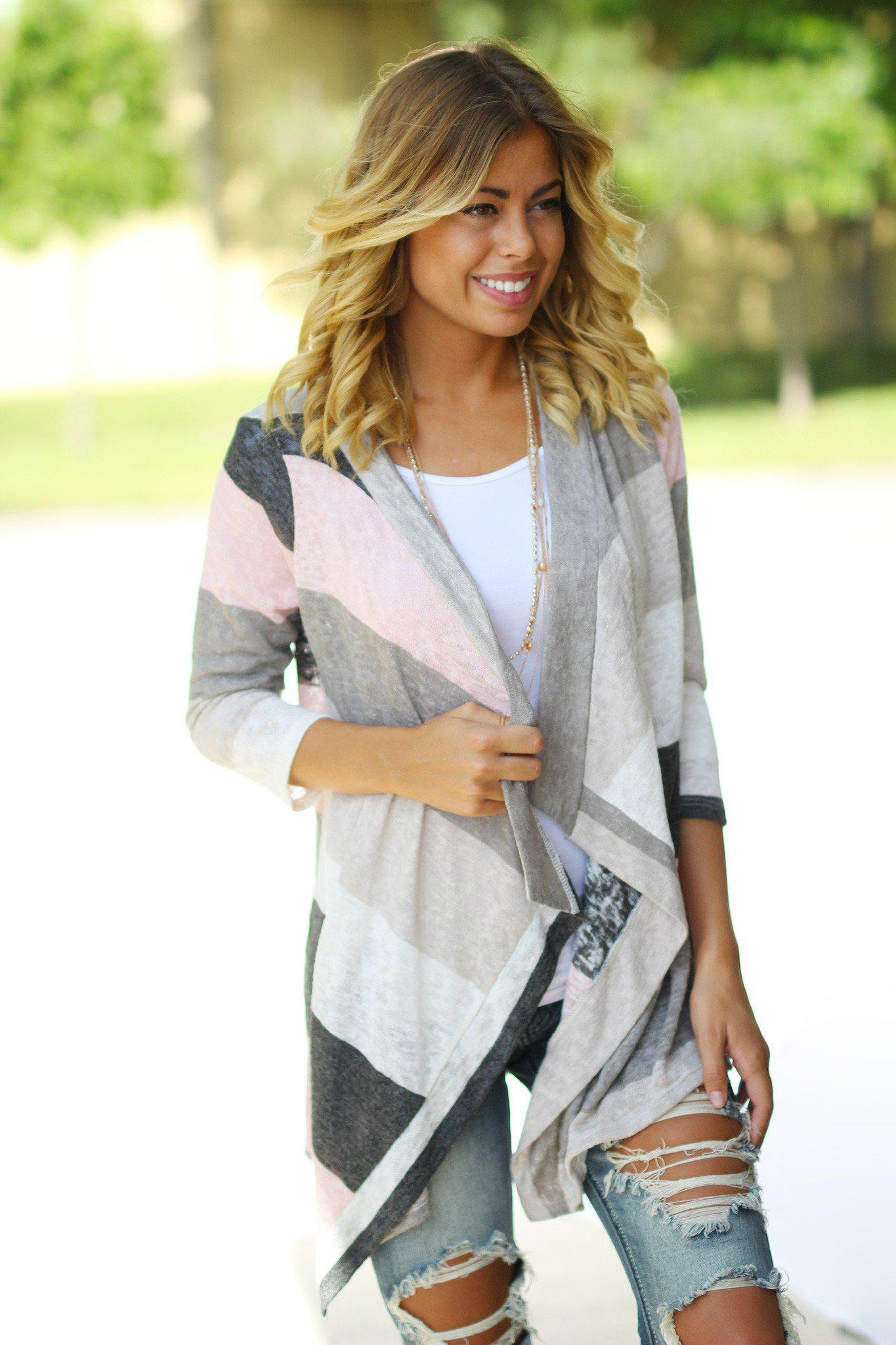 multicolor asymmetrical cardigan