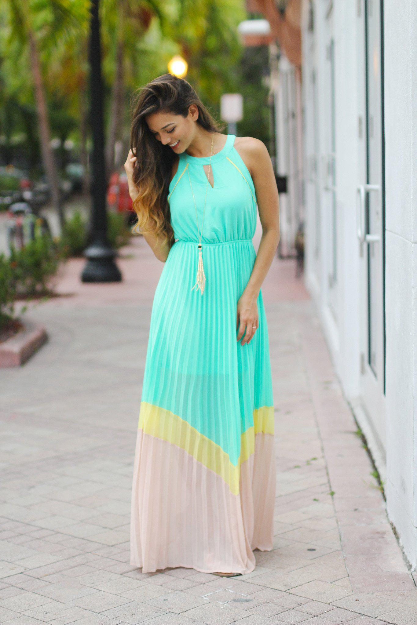 Jade Color Block Pleated Maxi Dress