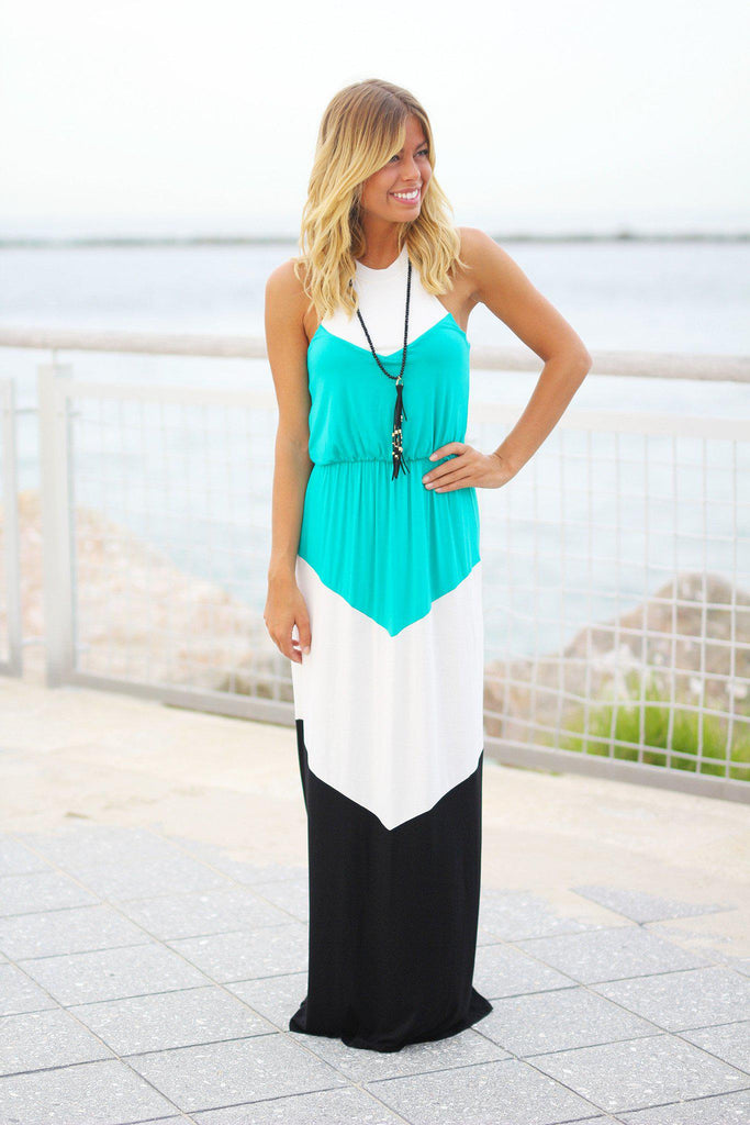 jade color block maxi dress