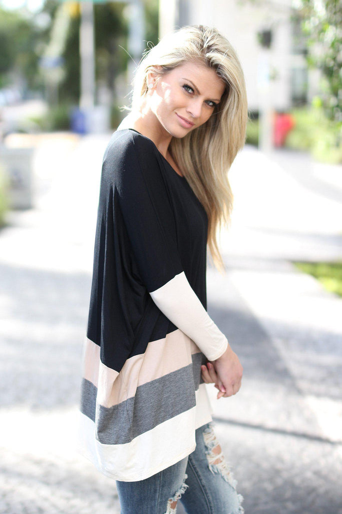 color block black top