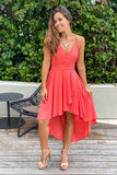 coral high low dress with lace back