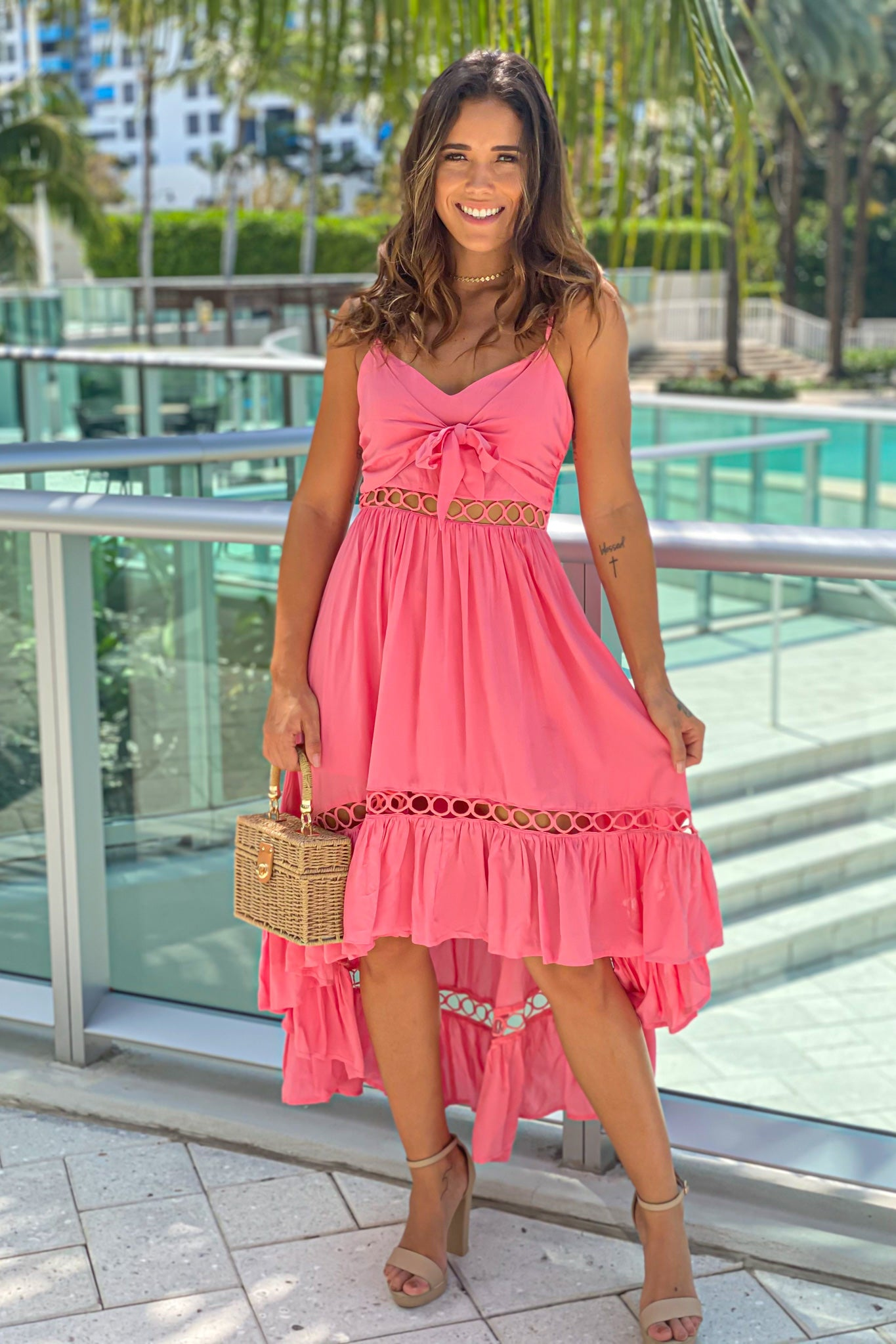 coral high low dress with front