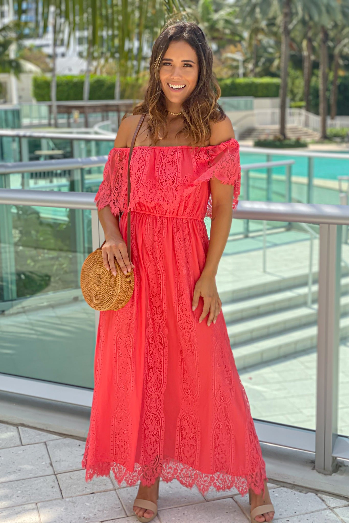 coral lace off shoulder dress