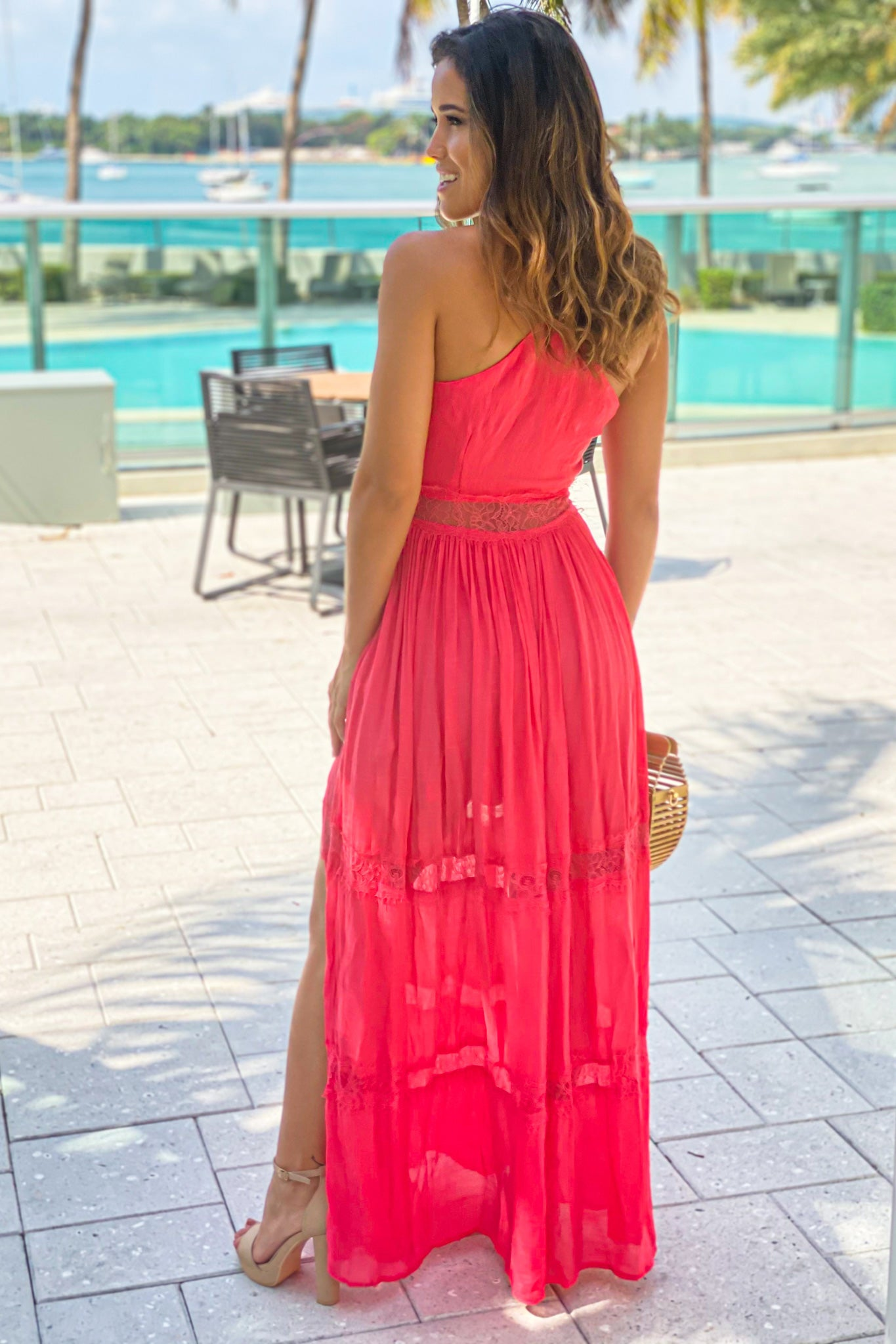 coral maxi dress with lace trim