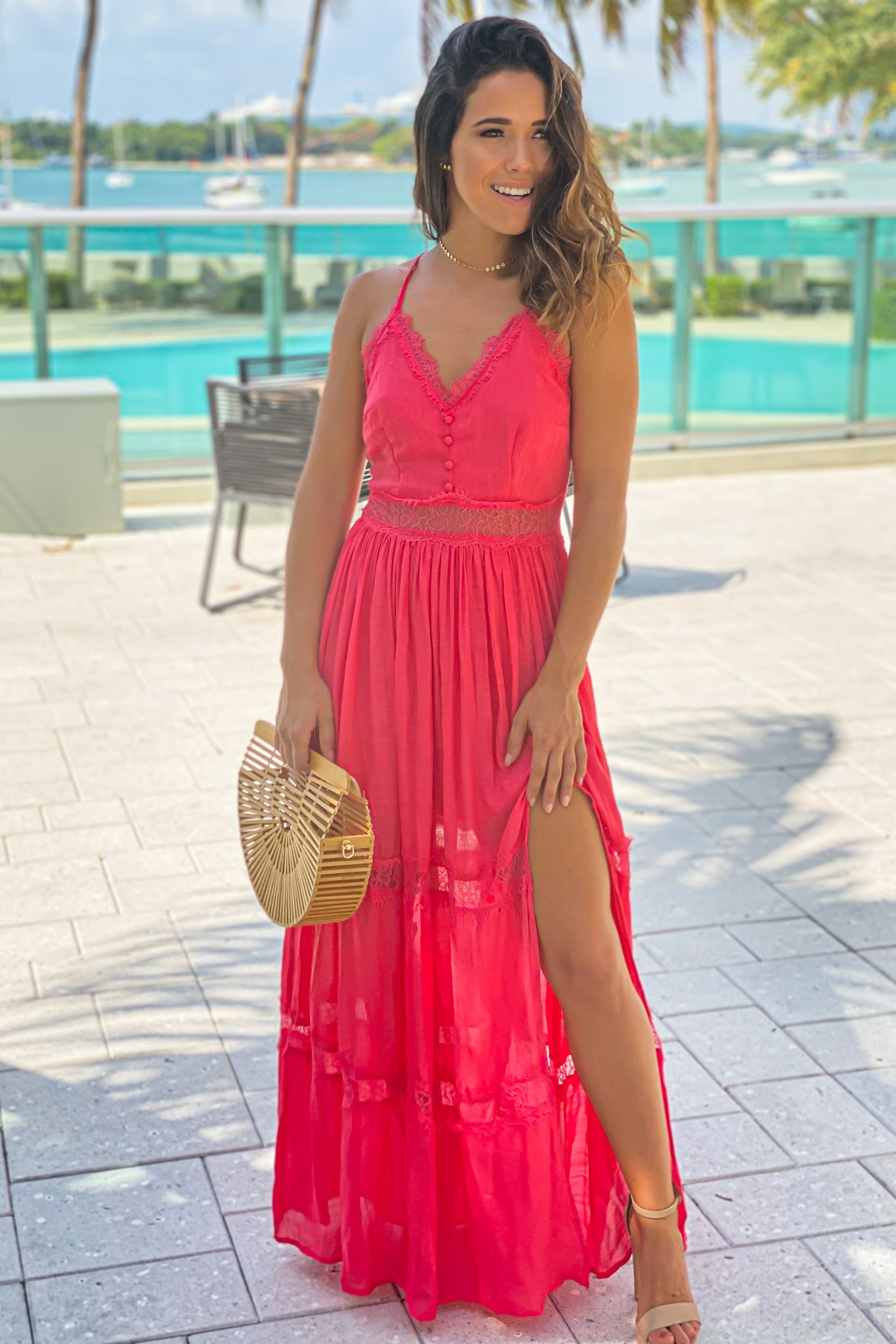 coral maxi dress with side slit