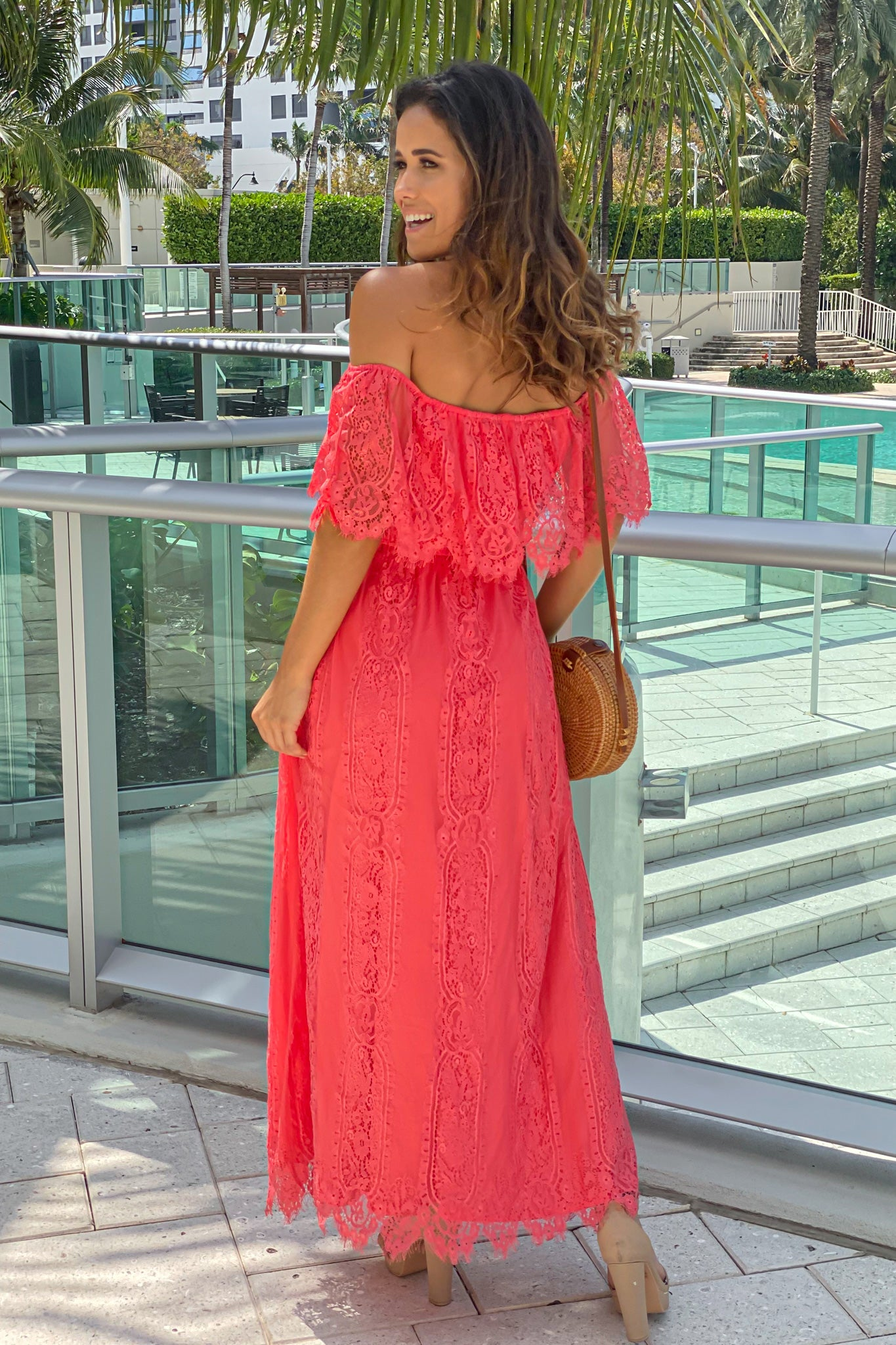 coral off shoulder dress