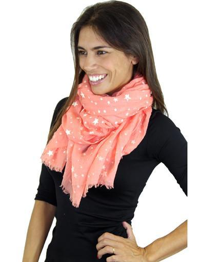 Coral printed scarf - semi front view