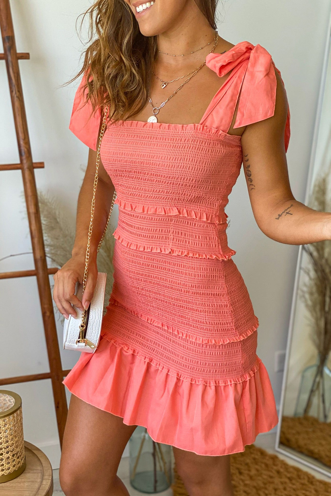 coral smocked short dress