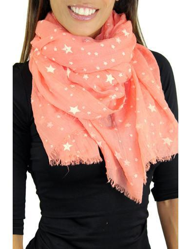 Coral spring scarf - zoomed view