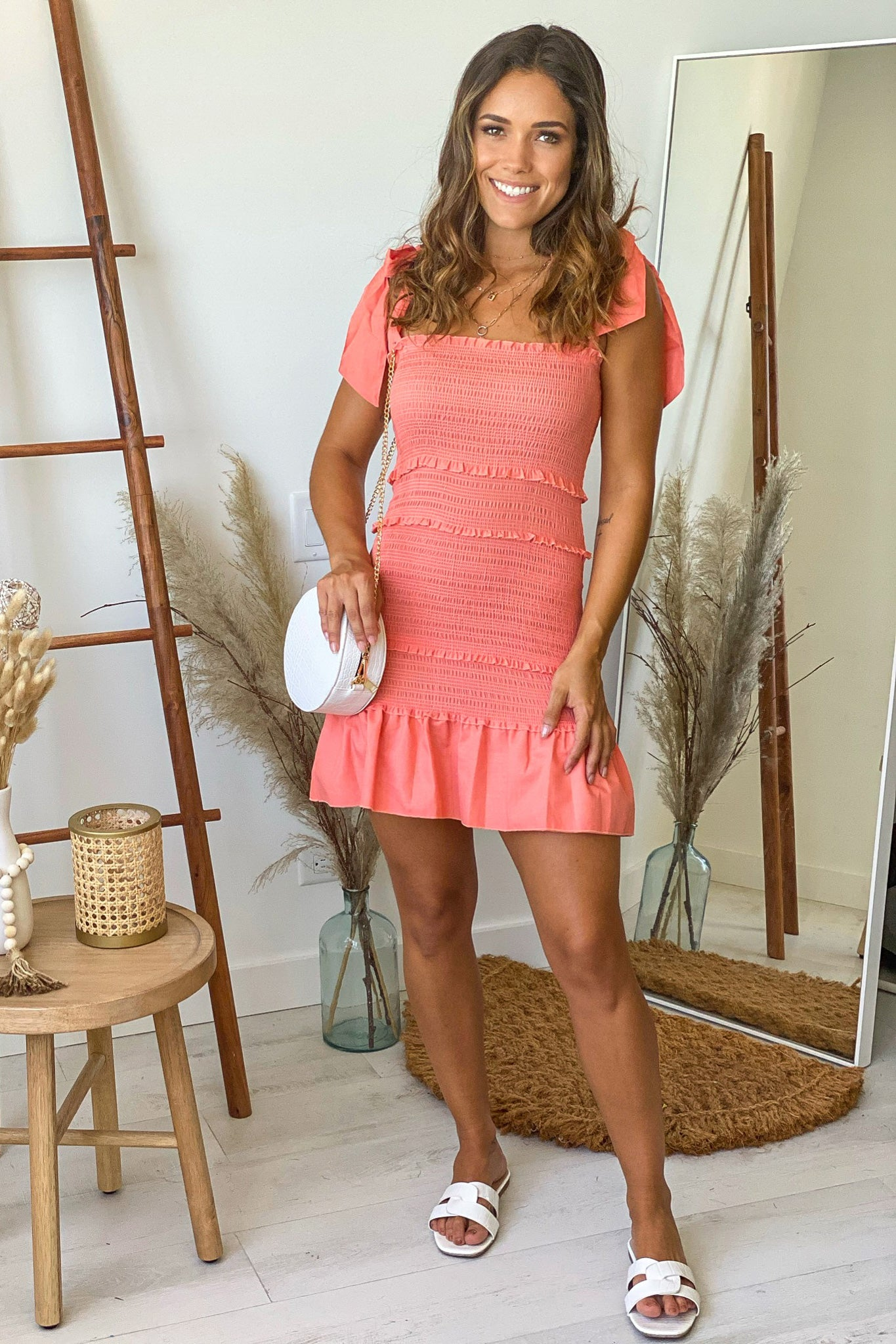 coral summer short dress