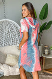 coral tie dye casual dress