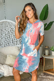 coral tie dye cute dress