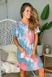 coral tie dye lounging dress