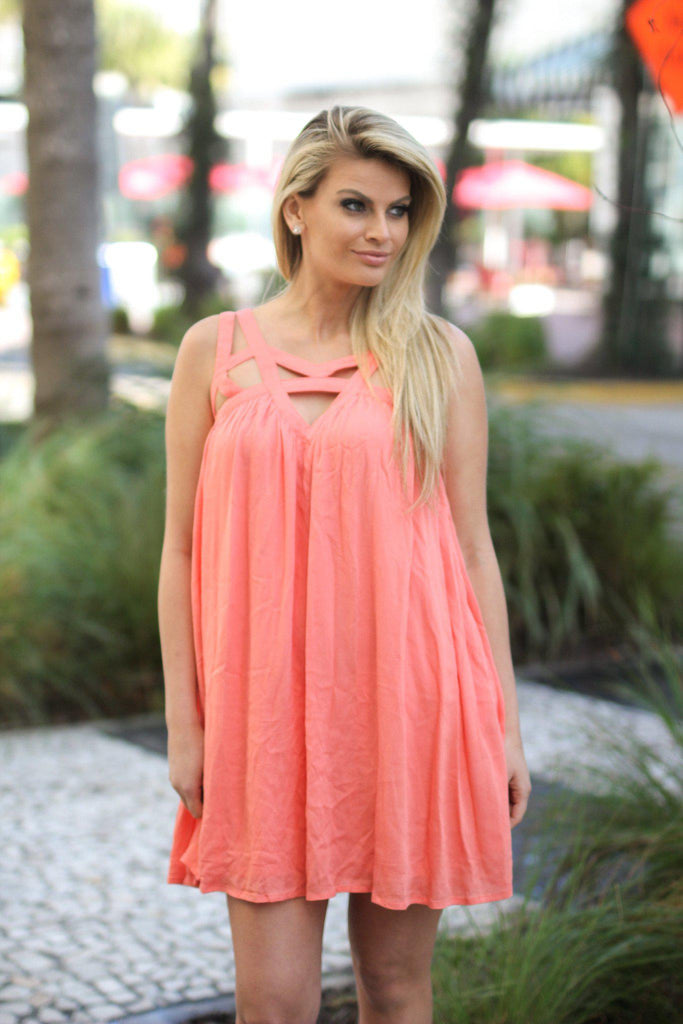 salmon bridesmaid dress