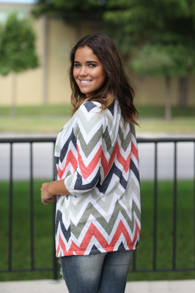 Multi Colored Chevron Cardigan