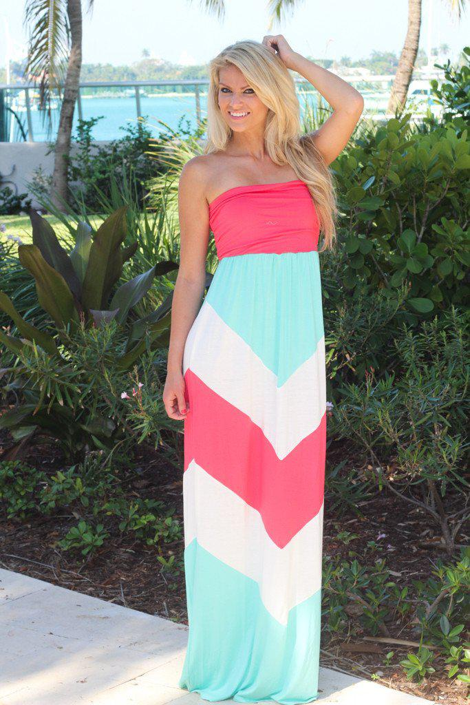 Aqua, Coral, And White Chevron Maxi Dress