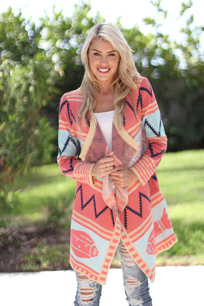 Coral and Mint Long Cardigan