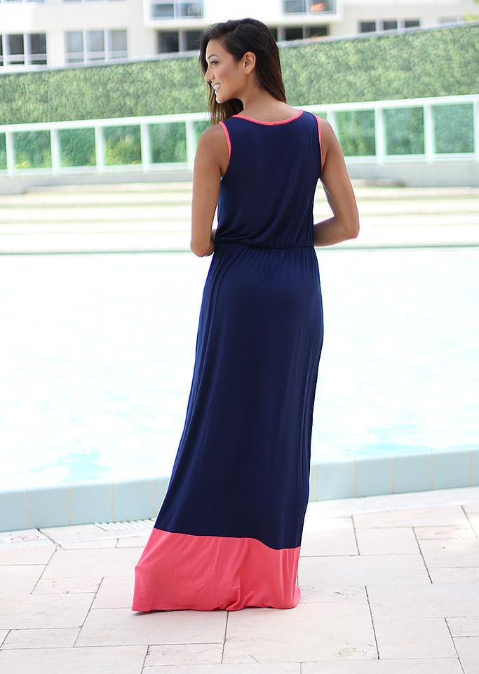 Navy and Coral Maxi Dress