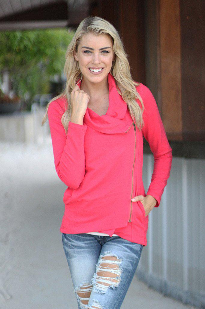 Coral Asymmetrical Jacket With Zipper