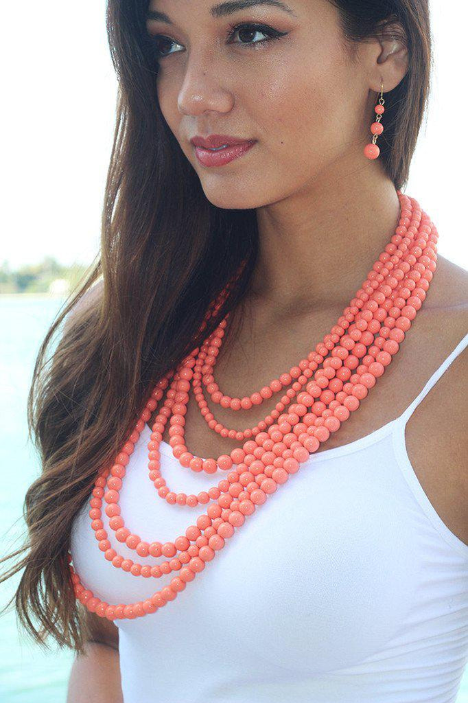 Coral Beaded Necklace and Earrings