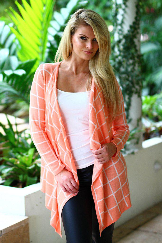 Coral Plaid Cardigan