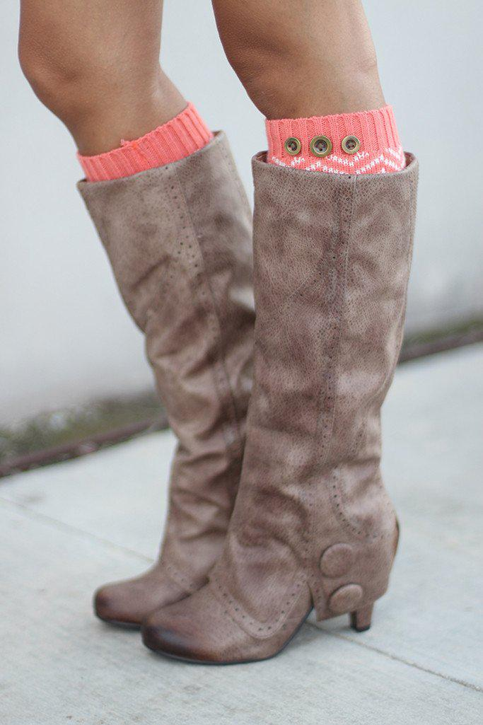 Coral Chevron Leg Warmers