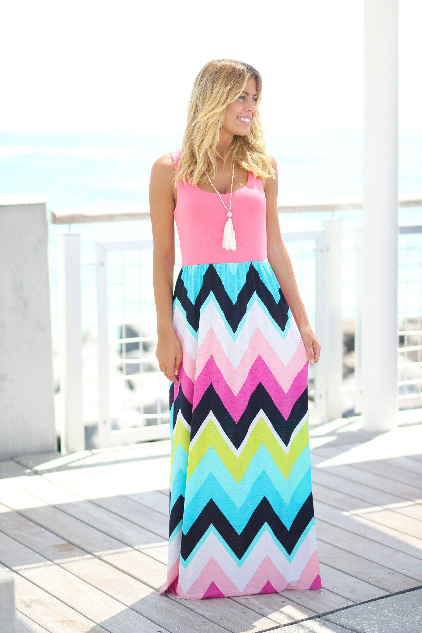 Chevron Maxi Dress with Coral Top