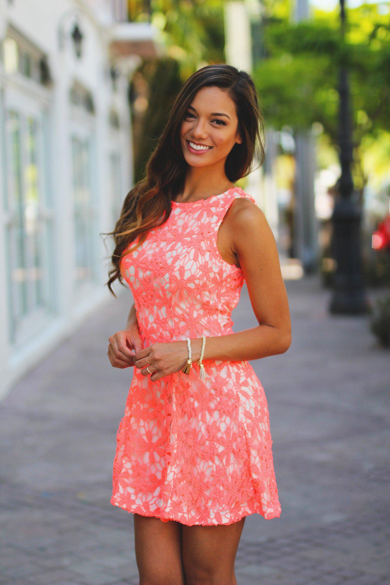 Neon Coral Crochet Dress with Tie Back