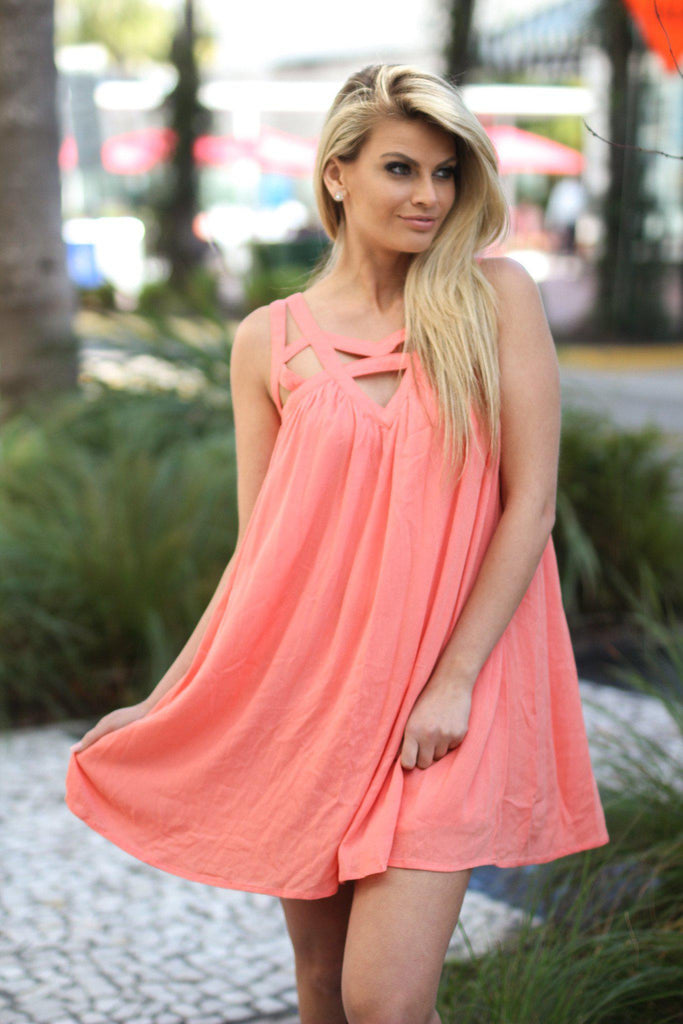 salmon short dress