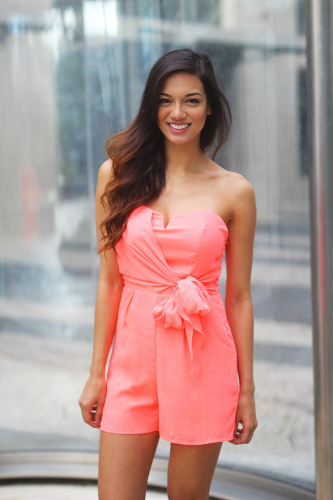 neon coral romper with bow