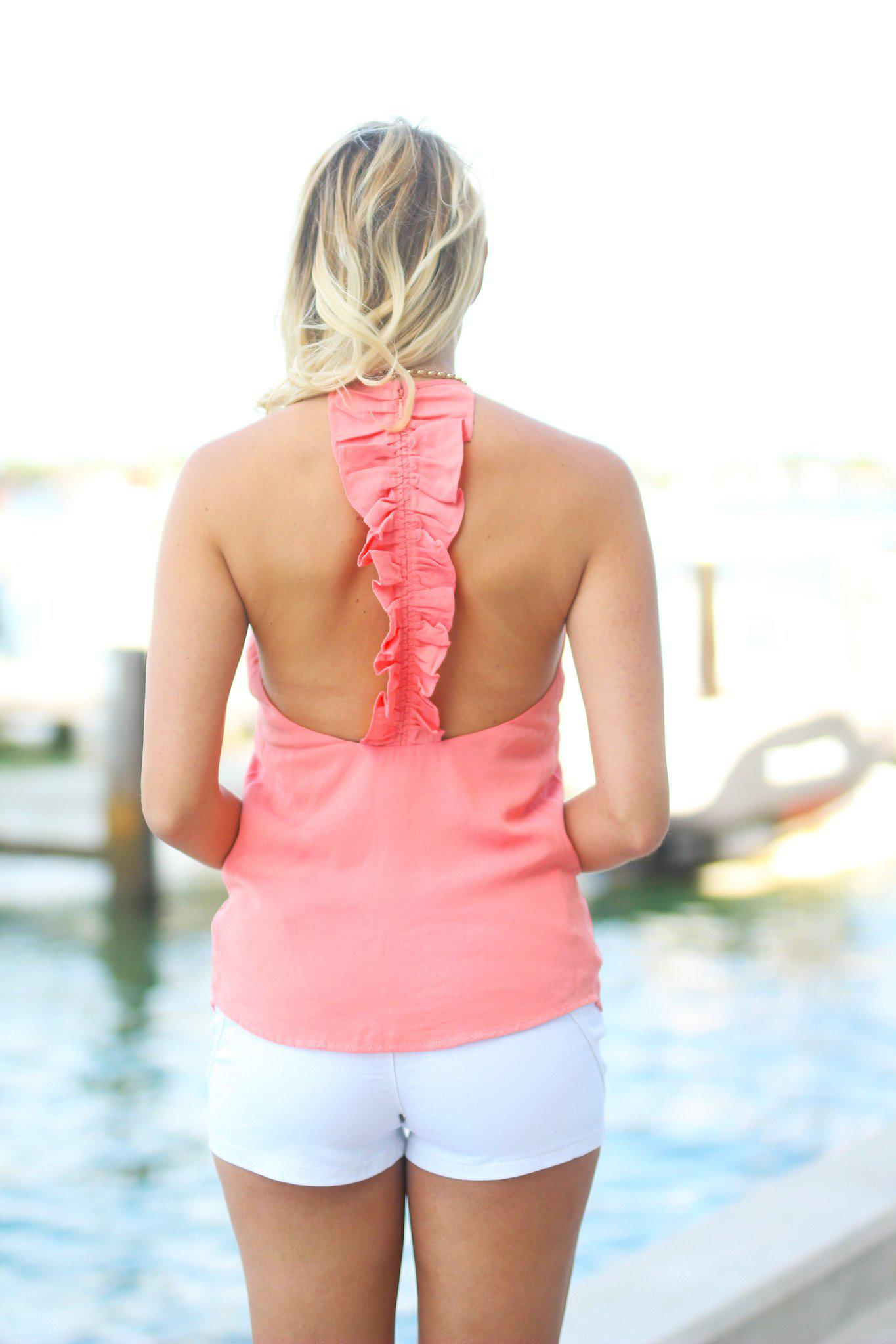 Light Coral Ruffled Back Tank Top