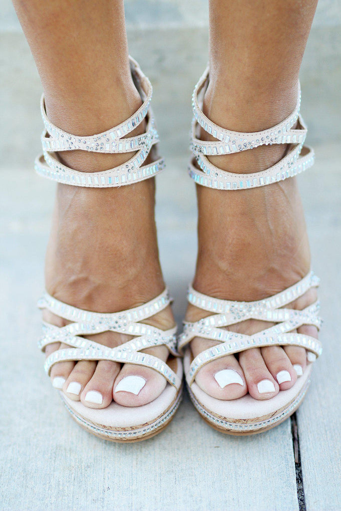 Coral Sea Nude Wedges