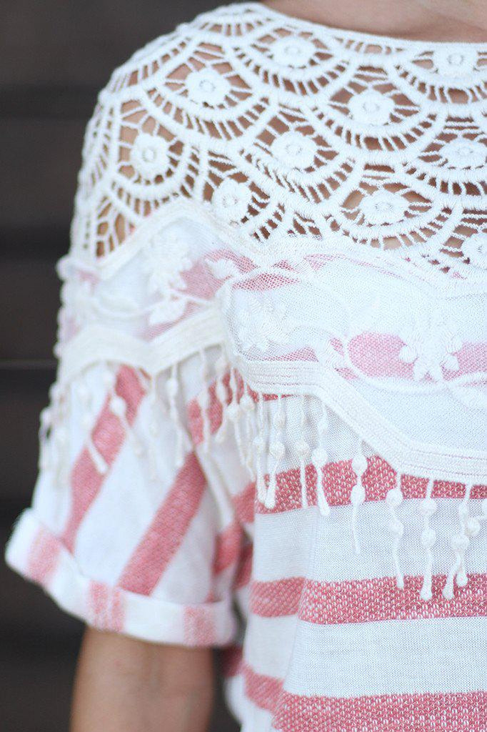 Coral Striped Top With Lace Detail