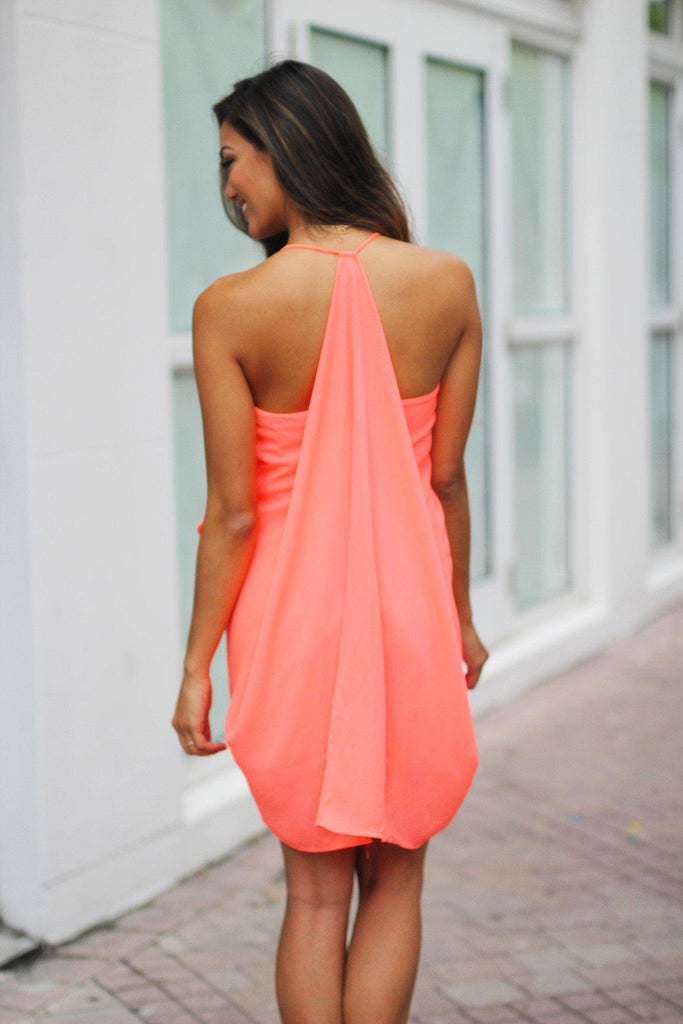 neon coral prom dress