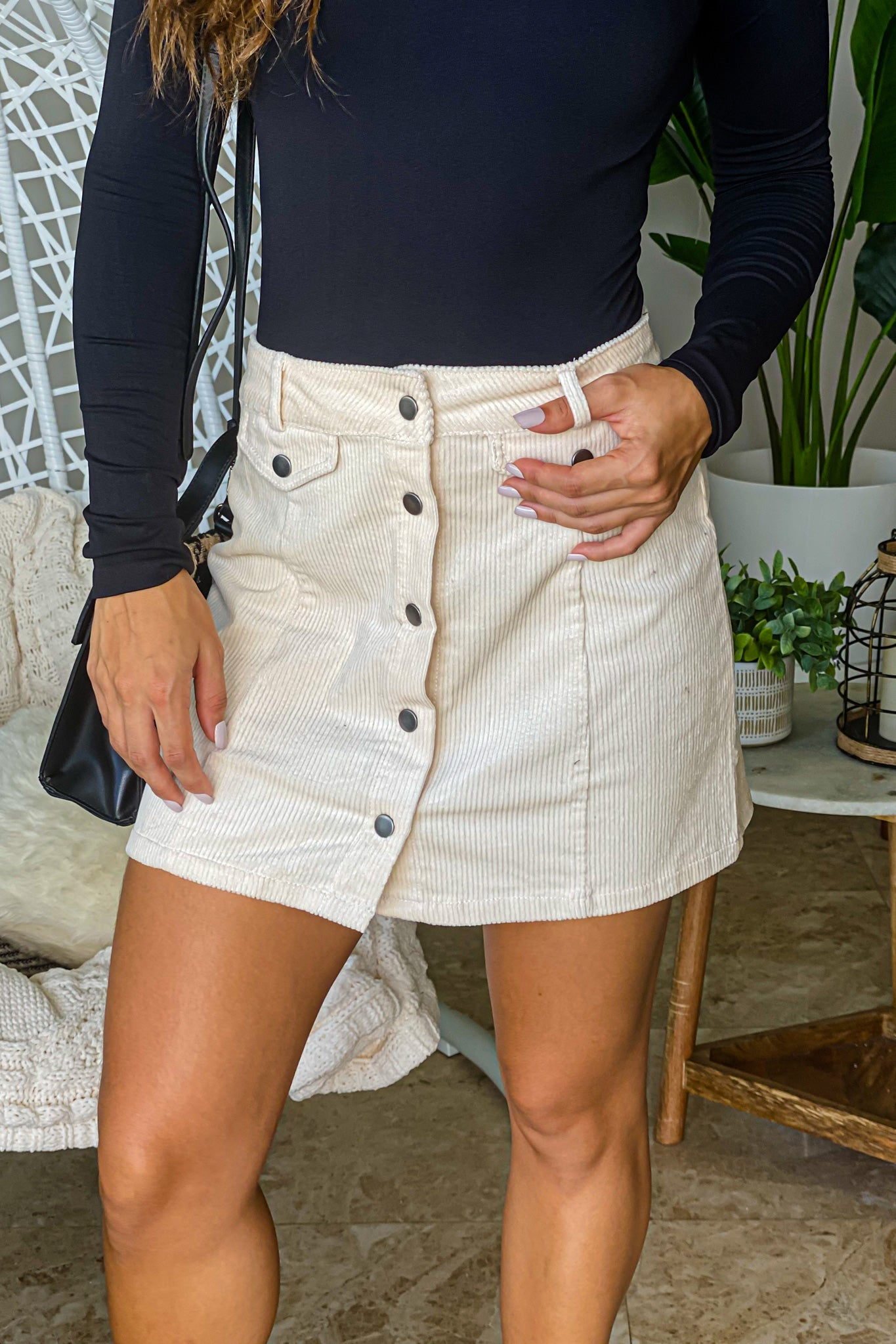 cream button down skirt