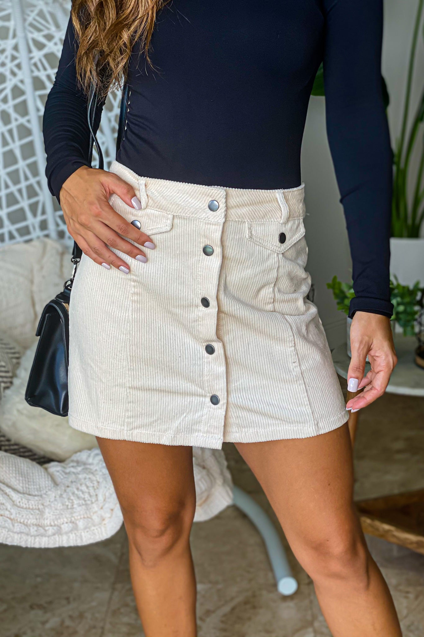 cream casual skirt