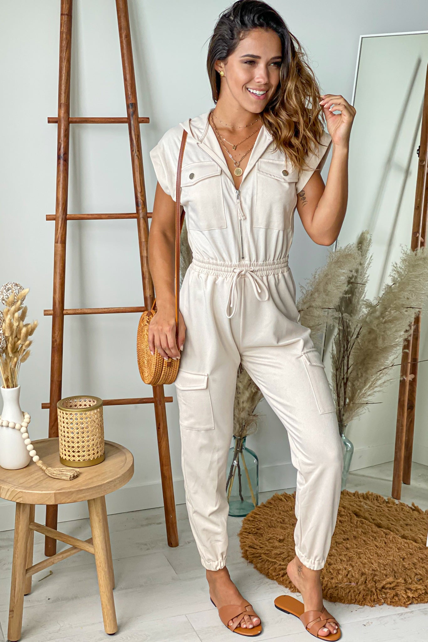 cream cute jumpsuit