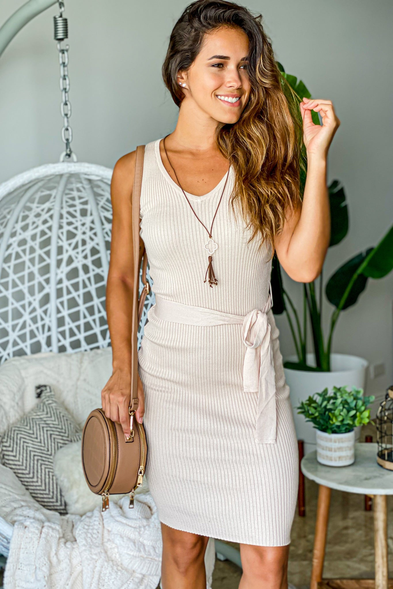 cream cute midi dress