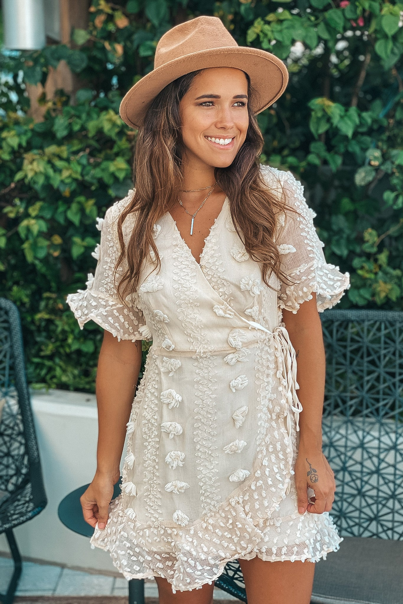 cream embellished wrap short dress