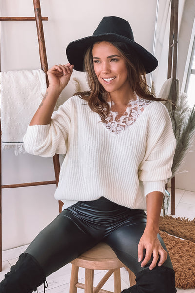 Cream Sweater with Floral Lace Detail