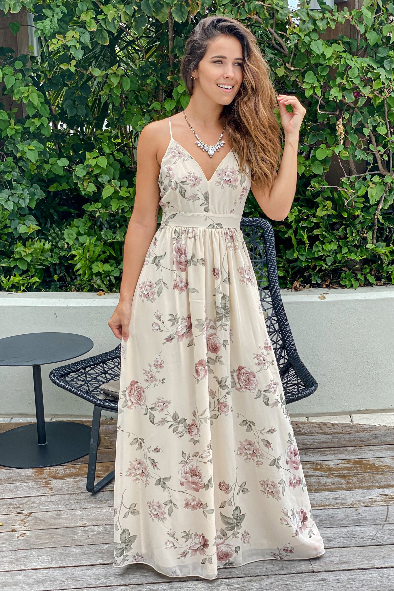 cream floral bridesmaid maxi dress