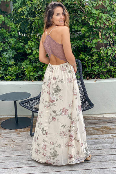 Cream Floral Maxi Dress With Lace Back