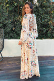cream floral maxi with tie up back